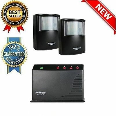 2 Sensor Wireless Motion Alert Outdoor Alarm Security System Home Patio Driveway
