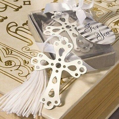 60 Silver Cross Metal Bookmark Christening Baptism Shower Religious Party Favors