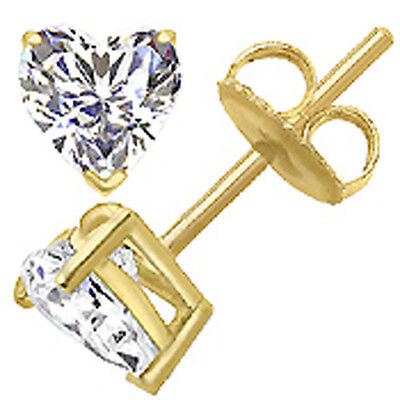 4MM EACH 0.30 CARAT 14K SOLID WHITE OR YELLOW GOLD HEART SHAPE CZ CUBIC ZIRCON  4mm Square Shaped Earring
