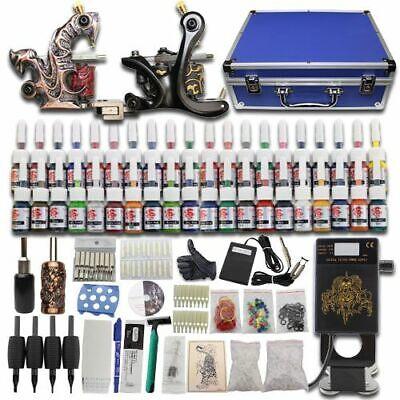 Kit completi per tatuaggi 2 Macchinetta Set Alimentatore 40 Colori Aghi Valigia