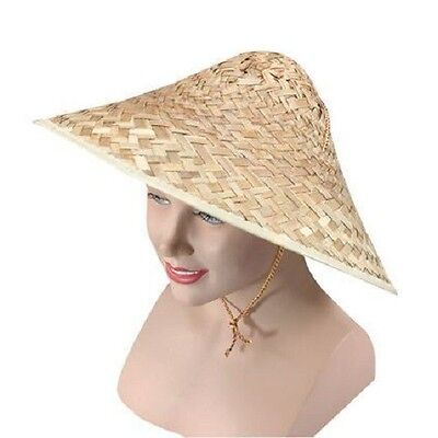 Chinese Straw Coolie Hat Oriental Chinaman Chinese New Year Fancy Dress  (Straw Hat Oriental)