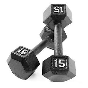 A pair of 15lb dumbbells