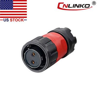 Cnlinko 2 Pin Power Industrial Connector Female Plug Waterproof Outdoor Ip67 M20