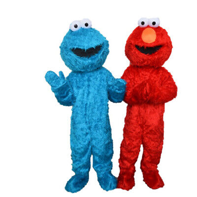Sesame Street Elmo RED BLUE Mascot Fancy Dress Costume Adults Size