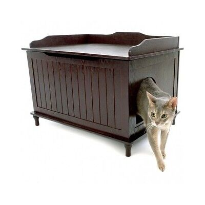 Enclosed Litter Box Cat Covered Large Kitty Furniture Hidden Decorative Bench ()