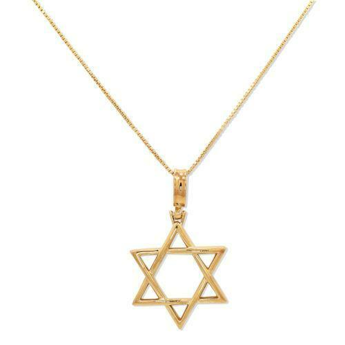 Gold star of david necklace ebay for Star of david necklace mens jewelry