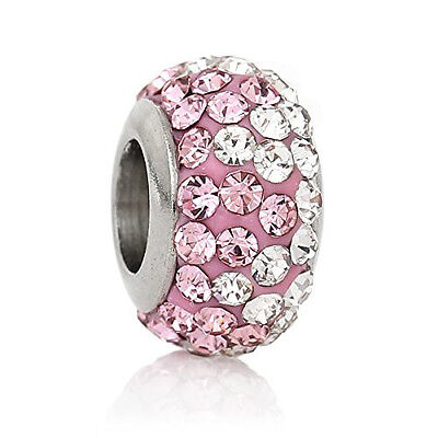 Stainless Steel European Style Charm Beads Round Silver Tone With Pink & Clear R Charms & Charm Bracelets