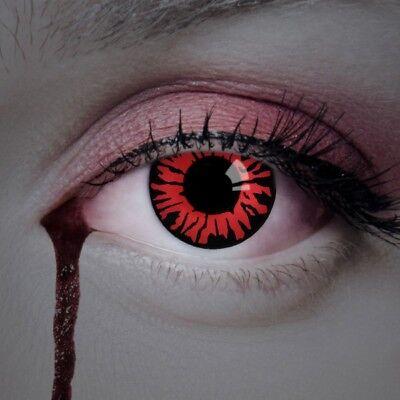 aricona rote Kontaktlinsen farbig Vampir Kostüm Halloween Horror Clown Make up ()
