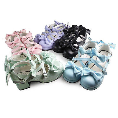 Sweet Lolita Rokoko Barock Gothic Bow Damen Pumps Ballerinas Halb-schuhe (Ballerinas Kostüme)