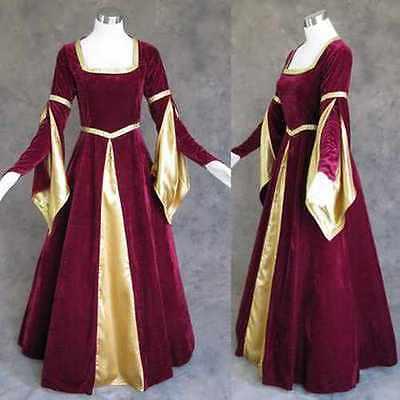 Red Renaissance Dress Costume (Burgundy Velvet Gold Medieval Renaissance Gown Dress Costume LARP Wedding 2X)