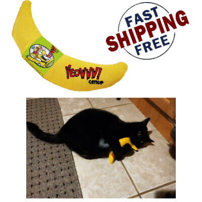 Yeowww! 100% Organic Catnip Banana Handmade Yellow CATS TOYS Leaf Flower Filled 100% Organic Catnip Banana