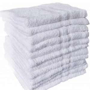 12 NEW WHITE COTTON HOTEL HAND TOWELS 16X27 ROYAL REGAL  BRAND