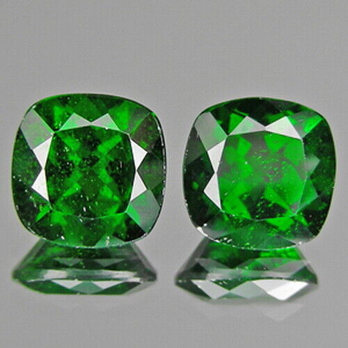 4.89cts 8mm Cushion Pair Natural Chrome Green Diopside Loose Genuine Gemstones
