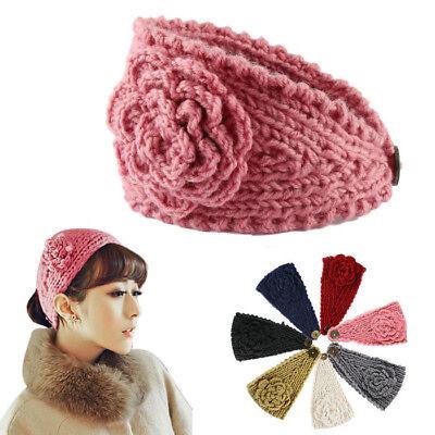 Haarband Stirnband  Haarbänder Damen Strick Kopfschmuck Ohrwärmer mit Blume neu
