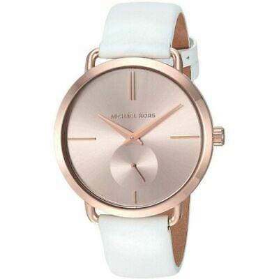 Michael Kors Damen Portia Rose Gold Zifferblatt Weiss Leder Uhr MK2660