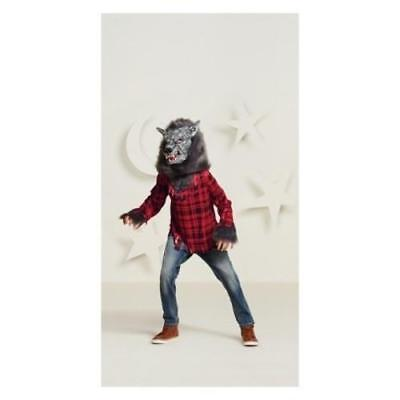 Kids' Werewolf Halloween Costume Mask and Top with Fur Size Medium 8-10