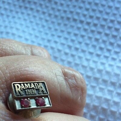 Ramada Inn Logo Award Lapel Service Pin with Ruby Gold Plated Vintage