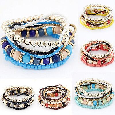 8 in 1 Armband  Böhmische Perlen Dehnbar Set einzeln zu tragen Schwarz Blau NEU