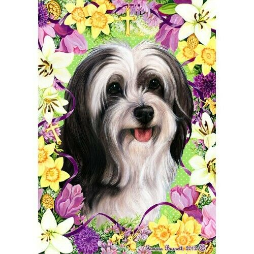 Easter House Flag - Black and White Tibetan Terrier 33478
