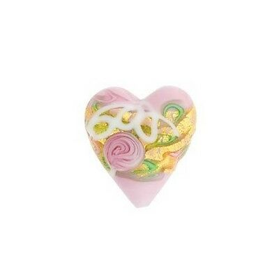 DOP2 Venetian Murano Glass Heart Bead Pink 20mm  PK1 **UK EBAY SHOP**