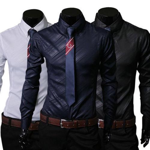 Herren Hemd Hemden Slim Fit Hochzeit Langarm Anzug Freizeit Business Bügelleicht