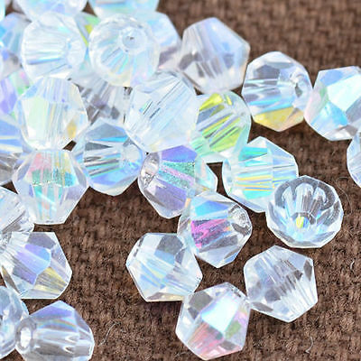 100pcs white ab exquisite Glass Crystal 4mm #5301 Bicone Beads loose beads '