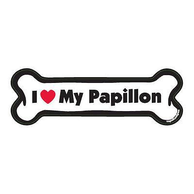 I Love My Papillon Dog Bone Car Magnet