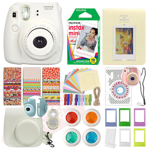 Fujifilm Instax Mini 8 Instant Film Camera White + 10 Film Deluxe Bundle
