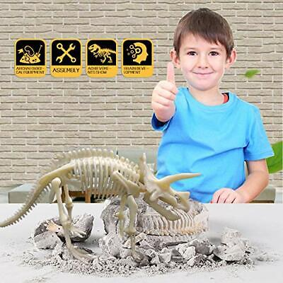 Triceratops Dinosaur Dig Puzzl Kit Fossil Scientific Education Assemble Stem Toy