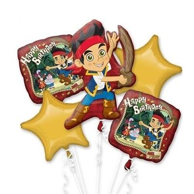 Jake The Neverland Pirate Birthday Party Favor  5CT Foil Balloon Bouquet  (Jake The Pirate Birthday Party)