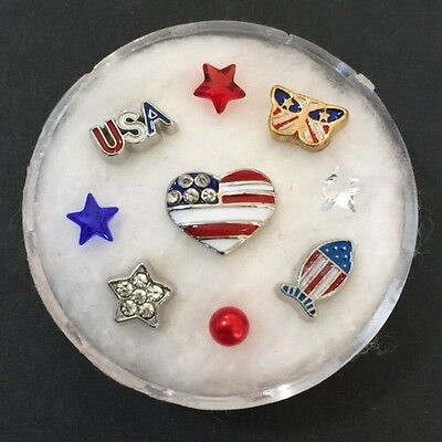 Floating Charm Set~*~Independence Day 4th Of July Patriotic~*~Living Lockets