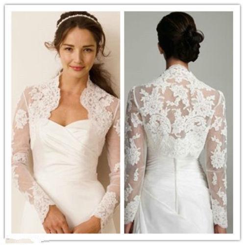 Ivory White Lace Wedding Jackets Bridal Long Sleeve Boleros&Stole&Shawl Custom