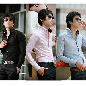 Mens-Luxury-Casual-Slim-Fit-Stylish-Dress-Shirts-US-Size-XS-S-M-L-4-Colours-ST54