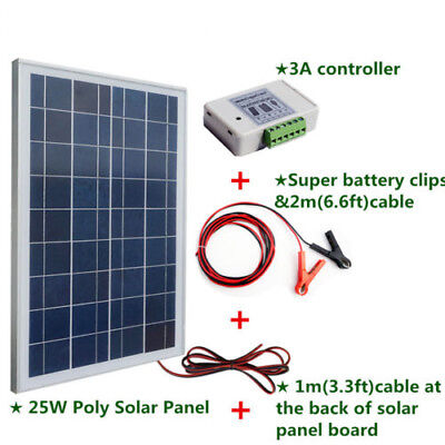 25W PV Solar Panel & 3A 12V/24V Solar Charge Controller & battery clips & cable