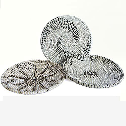 Woven Basket Wall Décor Set of 3 Seagrass Decorative Bowl H