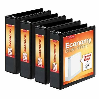 Cardinal 2 Inch 3 Ring Binder Round Ring Black 4 Pack Holds 475 Sheets 79522