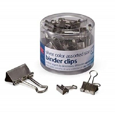 Officemate Silver Metal Binder Clips - 1 Pack Of 30 Assorted Sizes