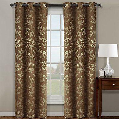 """Claire Cafee Grommet Blackout Weave Jacquard Window Curtains 72""""W x 84"""" L (Pair)"""
