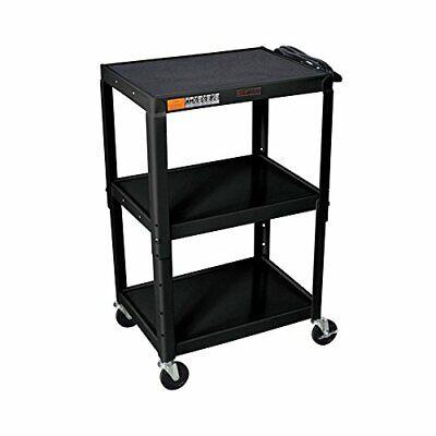 H Wilson W42ae Adjustable Height Av Cart Black