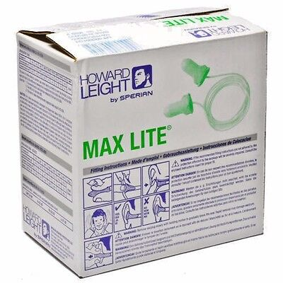 Howard Leight Max-lite Lpf-30 Corded Green Safety Ear Plugs Earplugs Box Of 100