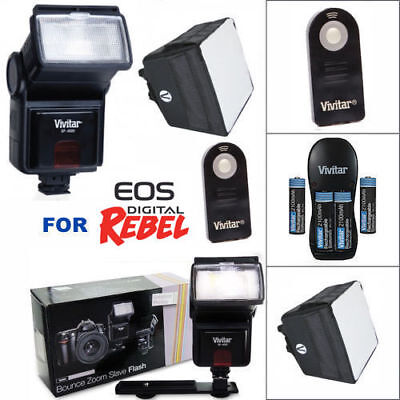ZOOM LED FLASH + CHARGER + DIFFUSER + REMOTE FOR CANON EOS REBEL T1 T2 T3 T5 T6