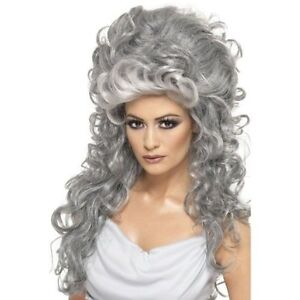 Womens-Medeia-Witch-Beehive-Long-Grey-Wig-Halloween-Fancy-Dress-Ladies-Accessory