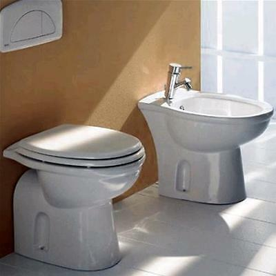 Sanitari a terra per arredo bagno wc completo di sedile copriwc e bidet ceramica