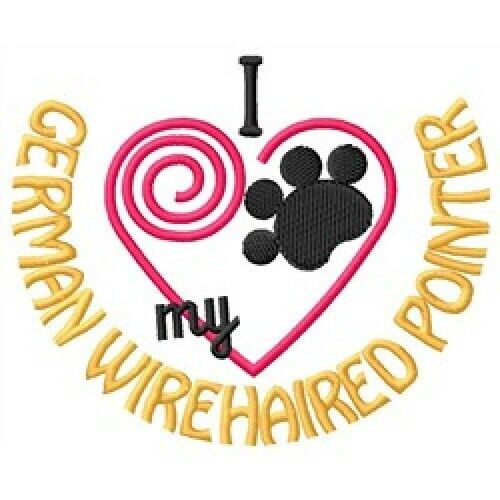 """I """"Heart"""" My German Wirehaired Pointer Short-Sleeved T-Shirt 1360-2"""