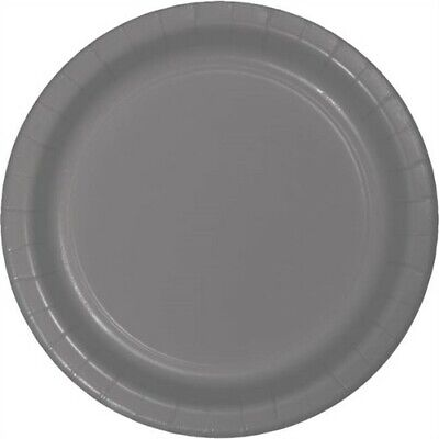Glamour Gray Heavy Duty 9 Inch Paper Plates 24 Pack Birthday Party Decor - Gray Paper Plates