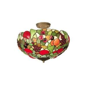 Dale Tiffany 7363 / 3LTF Fruit Flush Mount Ceiling Light, Antique Brass and Glass Shade. NEW