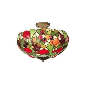 "Dale Tiffany Fruit Flush Mount Ceiling Light Fixture, Antique Brass and Glass Shade. 16 x 10"". High Quality. NEW"
