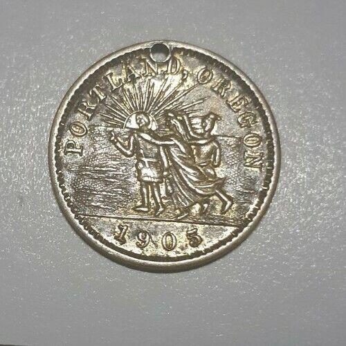 Rare 1905 Lewis & Clark Centennial Expo Souvenir Token Coin Forestry Bldg