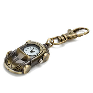 Vintage-Auto-Car-Brass-Keychain-Tag-Watch-Pocket-Key-Ring-Watch-Pendant-Clip