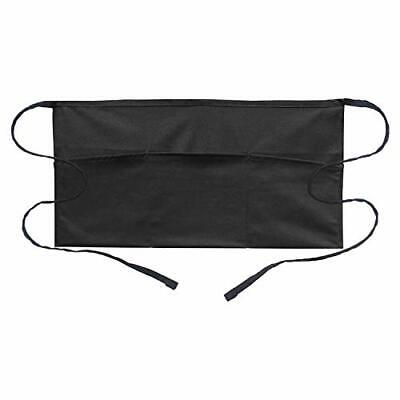 Waitress Waist Apron With 3 Pockets Black Server Aprons Book And Card Holder New
